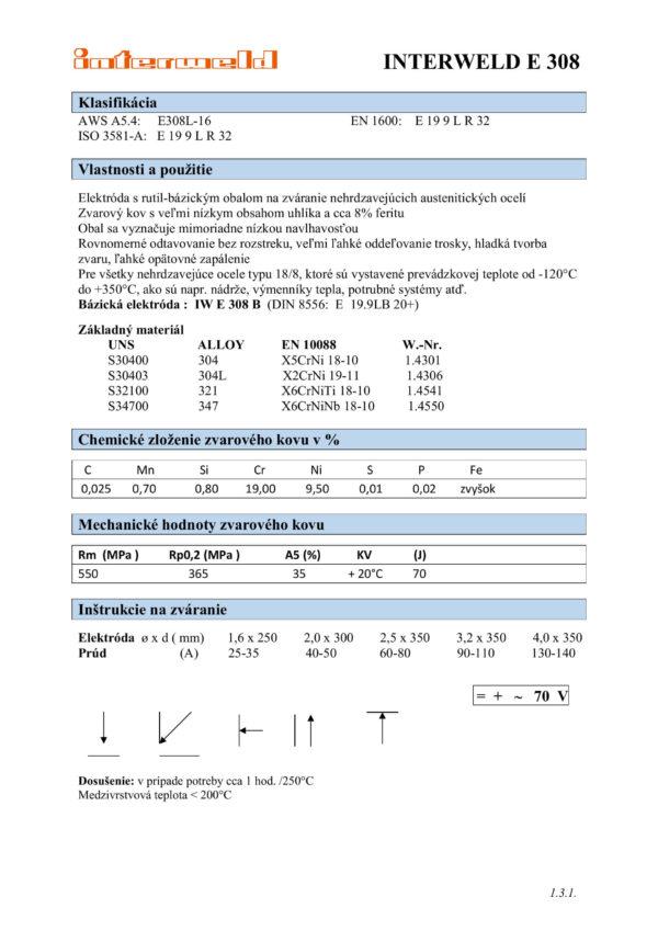IW E 308 Rutilová elektróda na nerez