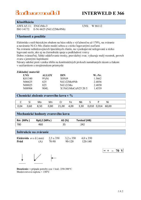 IW E 366 Elektróda pre ťažkozvariteľné ocele