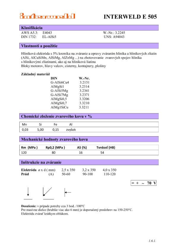 IW E 505 Hliníková elektróda s 5% kremíka