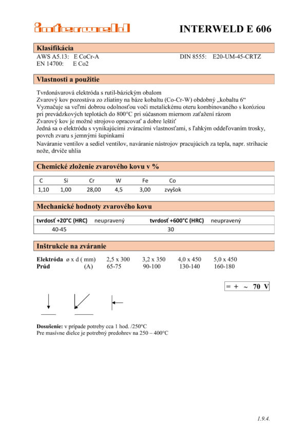 IW E 606 Tvrdonávarová elektróda na báze kobaltu