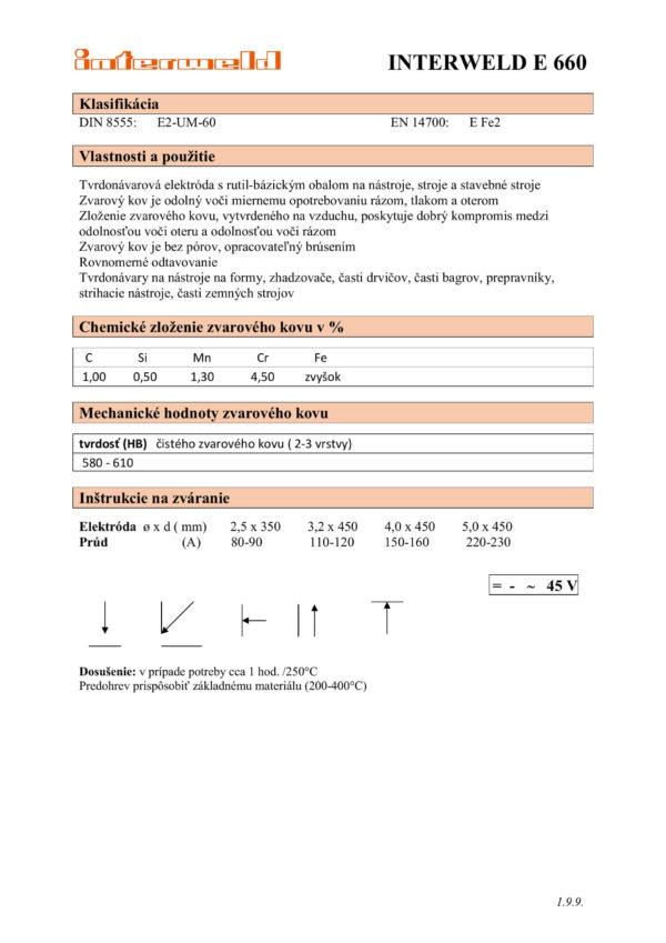 IW E 660 Rutilová tvrdonávarová elektróda