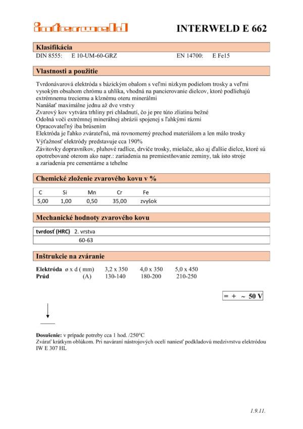 IW E 662 Elektróda s karbidami chrómu
