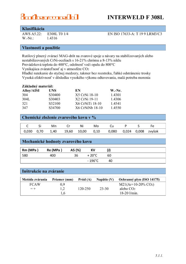 IW F 308 L Rutilový plnený drôt na CrNi ocele