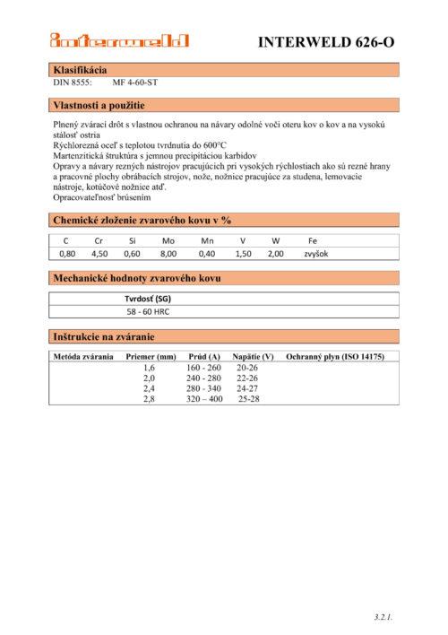 IW 626 O Plnený drôt na návary na stálosť ostria