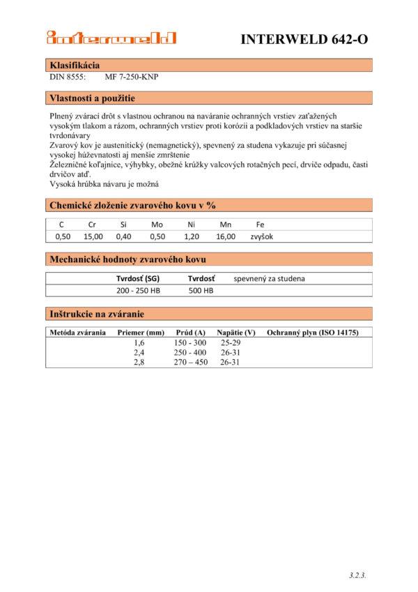 IW 642 O Drôt na návary na 14% mangánové ocele