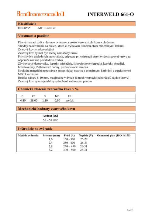 IW 661 O Drôt na návary odolné voči abrázii minerálmi