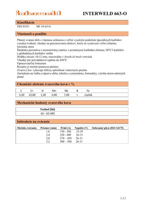 IW 663 O Drôt s vysokou odolnosťou proti abrázii a rázom