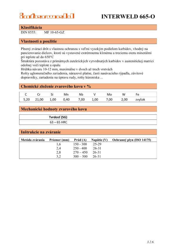 IW 665 O Plnený drôt s vysokým obsahom karbidov