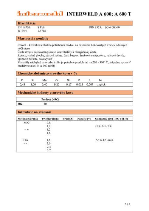 IW A 600 Chróm-kremíková zliatina