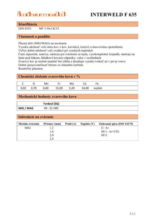 IW F 635 Plnený drôt odolný voči oteru kov o kov