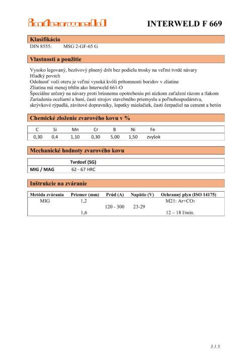 IW F 669 Plnený drôt na veľmi tvrdé návary