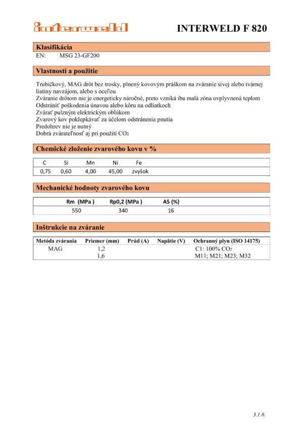 IW F 820 Drôt na zváranie sivej alebo tvárnej liatiny