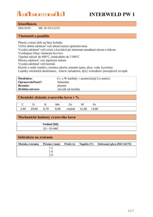 IW PW 1 Plnený drôt na báze kobaltu