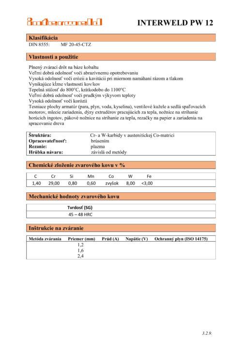 IW PW 12 Plnený drôt na báze kobaltu