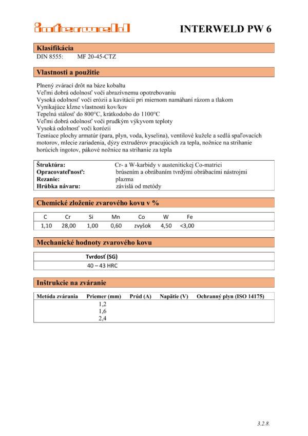 IW PW 6 Plnený drôt na báze kobaltu